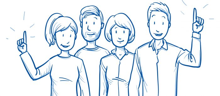 Line drawing of a group of adults