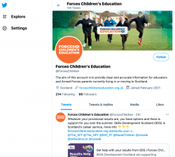 A screengrab of the Forces Children's Education Twitter feed