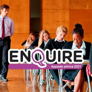 enquire logo on top of a picture of an exam hall