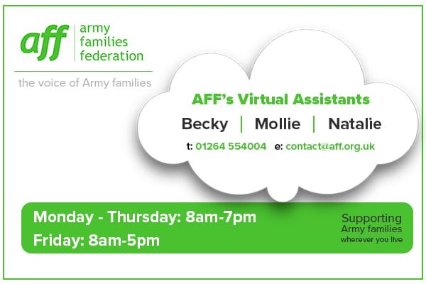 Contact AFF's Virtual Assistants on 01264 554004 or email contact@aff.org.uk