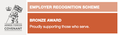 Armed Forces Covenant Employer Recognition Scheme Bronze Award banner