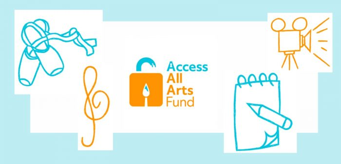 The Access All Arts Fund logo surrounded by icons depicting dance, music, film and drawing or writing