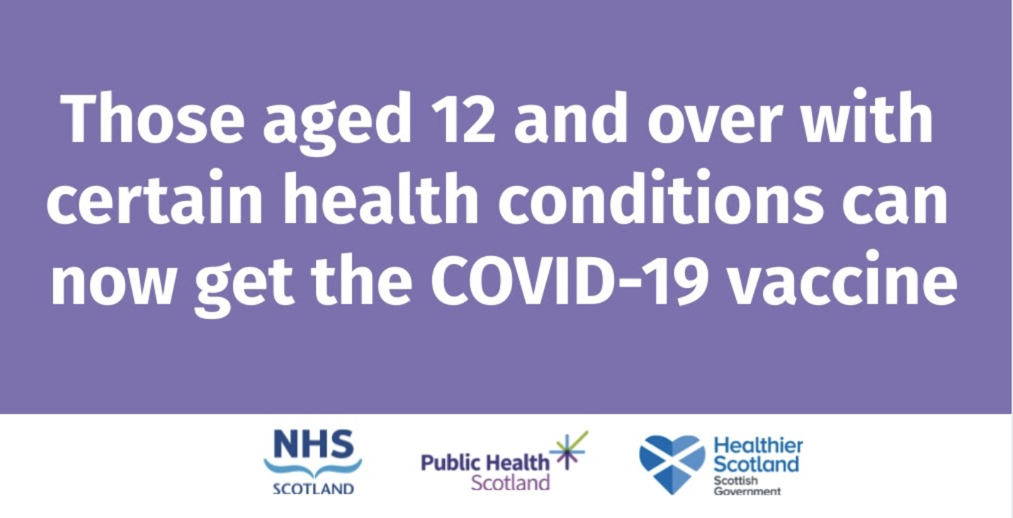 Those aged 12 and over with certain health conditions can now get the COVID-19 vaccine