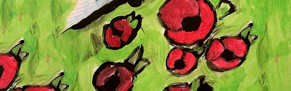 A child's painting of poppies at a war memorial